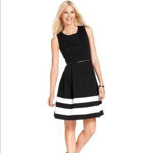 NWT Calvin Klein Black Dress w White Striped Hem